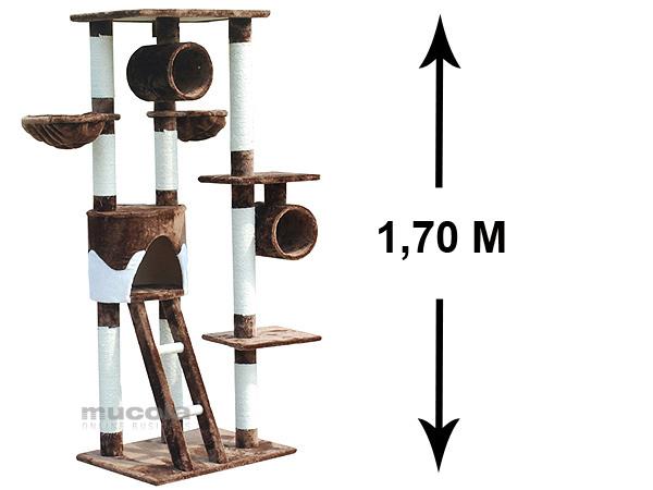 XL-170-cm-Kratzbaum-Braun-Weiss-Katzenbaum-Sisal-Kletterbaum-Katzenkratzbaum