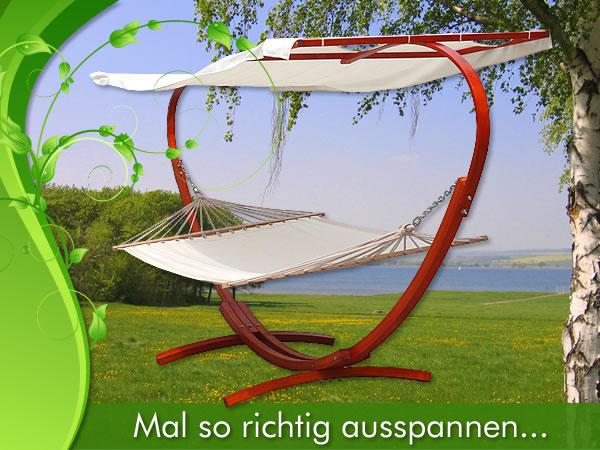 XXL-HANGEMATTE-Holz-Gestell-400x120cm-Liege-Gartenliege-Sonnenliege-Gartenmoebel