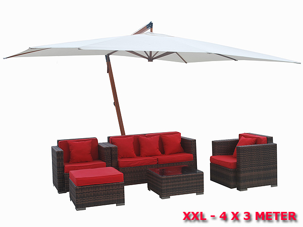 4x3 m bois parasol ombrelle protection solaire blanc manivelle parapluie ddfsdafsdfsad ebay. Black Bedroom Furniture Sets. Home Design Ideas