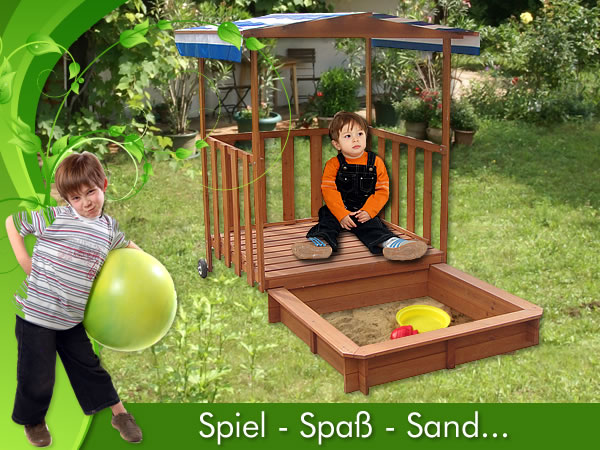 sandkasten spielhaus mit spielveranda sandbox sandkiste holz dach deckel blau ebay. Black Bedroom Furniture Sets. Home Design Ideas
