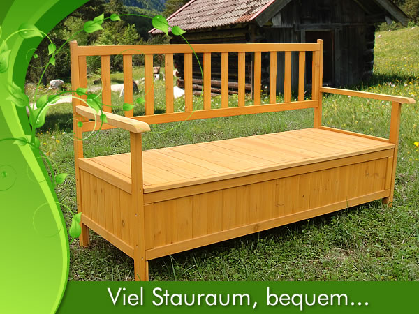 holz truhenbank sitzbank gartenbank holztruhe holzbank auflagenbox gartenbox. Black Bedroom Furniture Sets. Home Design Ideas