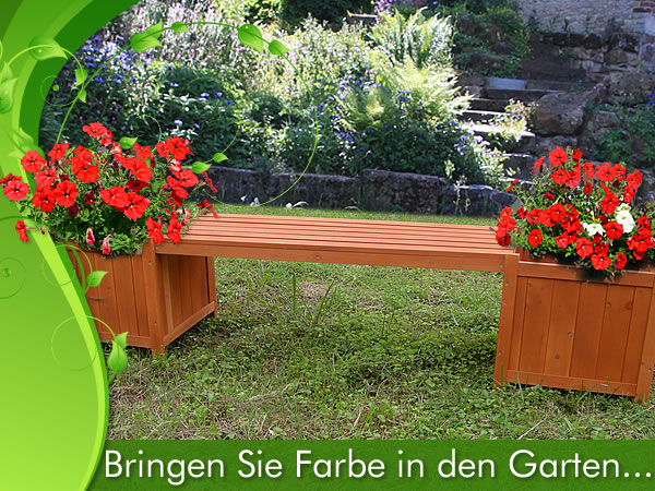 2in1 gartenbank mit 2 blumenk sten holzbank blumenkasten blumenk bel pflanzk bel ebay. Black Bedroom Furniture Sets. Home Design Ideas