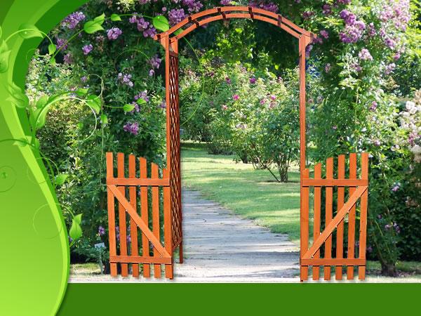 B ware legno arco per rose con porta cancello pergola arco for Puertas de madera para jardin