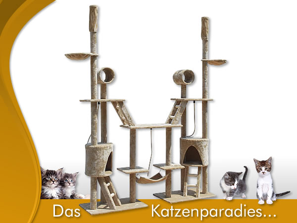 xxl 246 cm kratzbaum beige katzenbaum sisal katzenkratzbaum katzen deckenhoch ebay. Black Bedroom Furniture Sets. Home Design Ideas