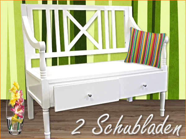 b ware truhenbank sitzbank k chenbank bank truhe holzbank wei ebay. Black Bedroom Furniture Sets. Home Design Ideas