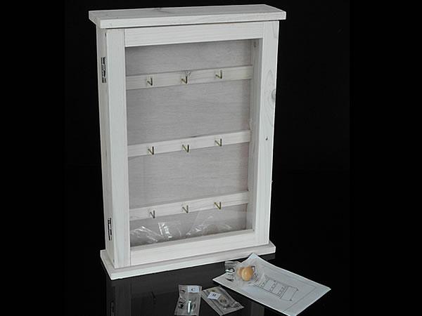 schl sselkasten mit fenster wei landhausstil aus holz. Black Bedroom Furniture Sets. Home Design Ideas