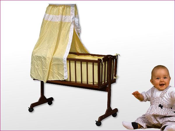babywiege stubenwagen massivholz himmel matratze kissen decke braun gelb ebay. Black Bedroom Furniture Sets. Home Design Ideas
