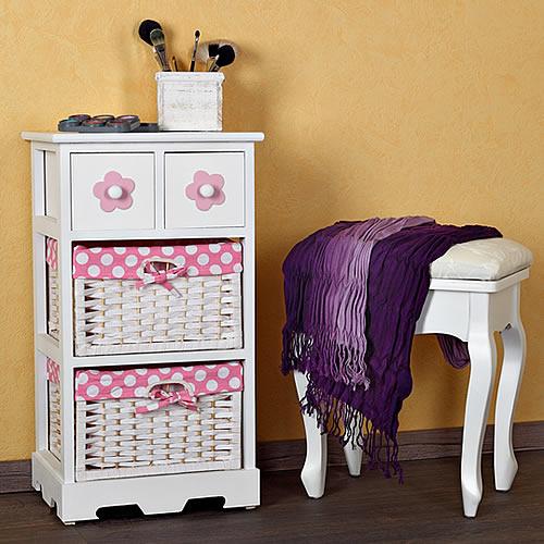rosa landhaus kommode schrank flur bad regal weiss nachttisch 2 k rben kinder ebay. Black Bedroom Furniture Sets. Home Design Ideas