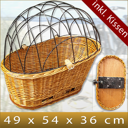 Handmade Bicycle Baskets : Xl dog cat pet bike bicycle basket wicker carrier cushion