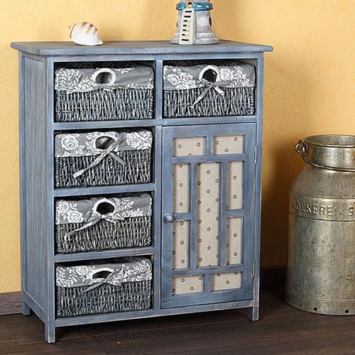 landhaus kommode k chenschrank flur regal sideboard shabby blau grau badschrank ebay. Black Bedroom Furniture Sets. Home Design Ideas