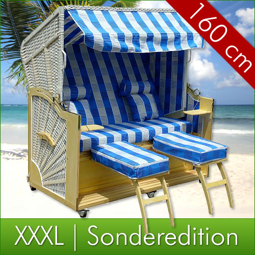 xxxl strandkorb 160cm gartenm bel strandk rbe garten ebay. Black Bedroom Furniture Sets. Home Design Ideas