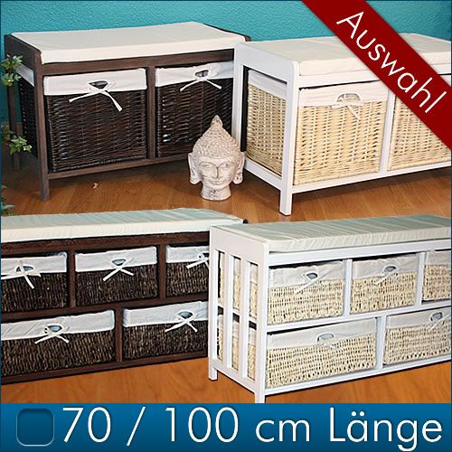 sitzbank mit k rben rattanbank kissen rattan weide holz bank truhenbank kommode ebay. Black Bedroom Furniture Sets. Home Design Ideas