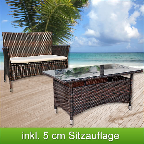 Poly rattan bank tisch lounge garnitur gartenlounge set rattanmbel