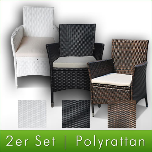 2x set polyrattan rattan st hle stuhl gartenstuhl sessel. Black Bedroom Furniture Sets. Home Design Ideas