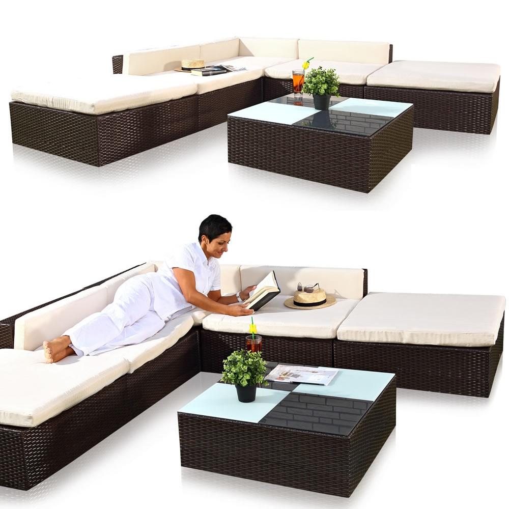 Polyrattan Sitzmöbel Schwarz Sitzgruppe Sofa Lounge Gartenset ...