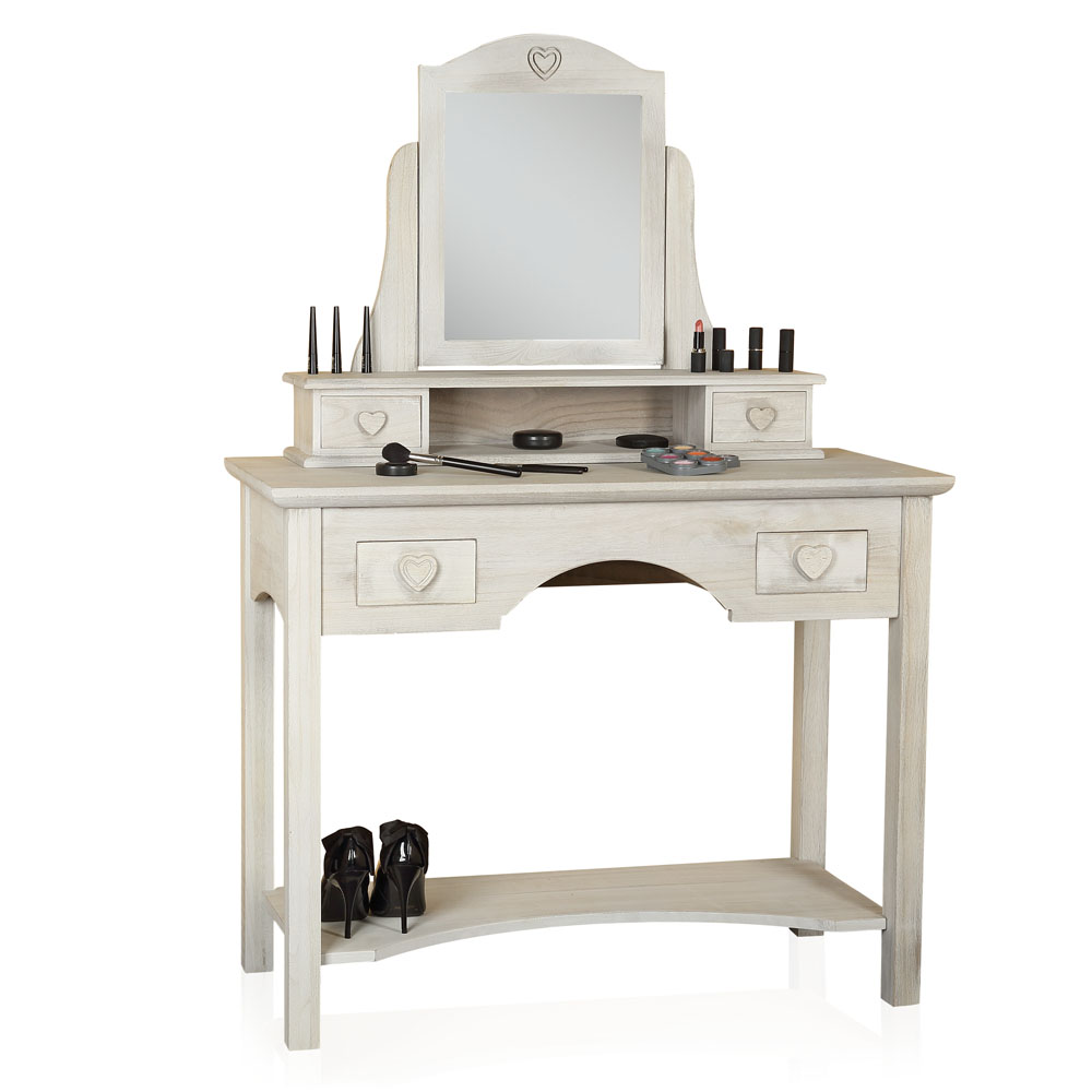 frisierkommode mit hocker spiegel wei schminktisch frisiertisch kosmetiktisch ebay. Black Bedroom Furniture Sets. Home Design Ideas