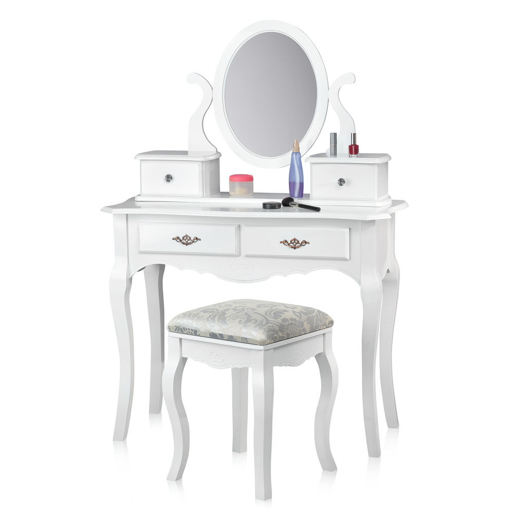 coiffeuse avec tabouret miroir blanc coiffeuse table de. Black Bedroom Furniture Sets. Home Design Ideas