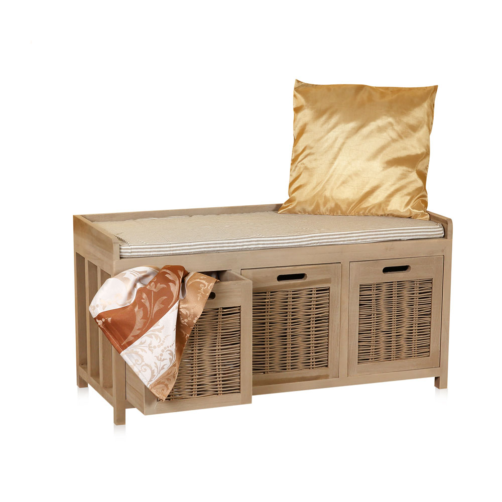 sitzbank mit k rben landhaus shabby weide banana leaf holz truhenbank kommode. Black Bedroom Furniture Sets. Home Design Ideas