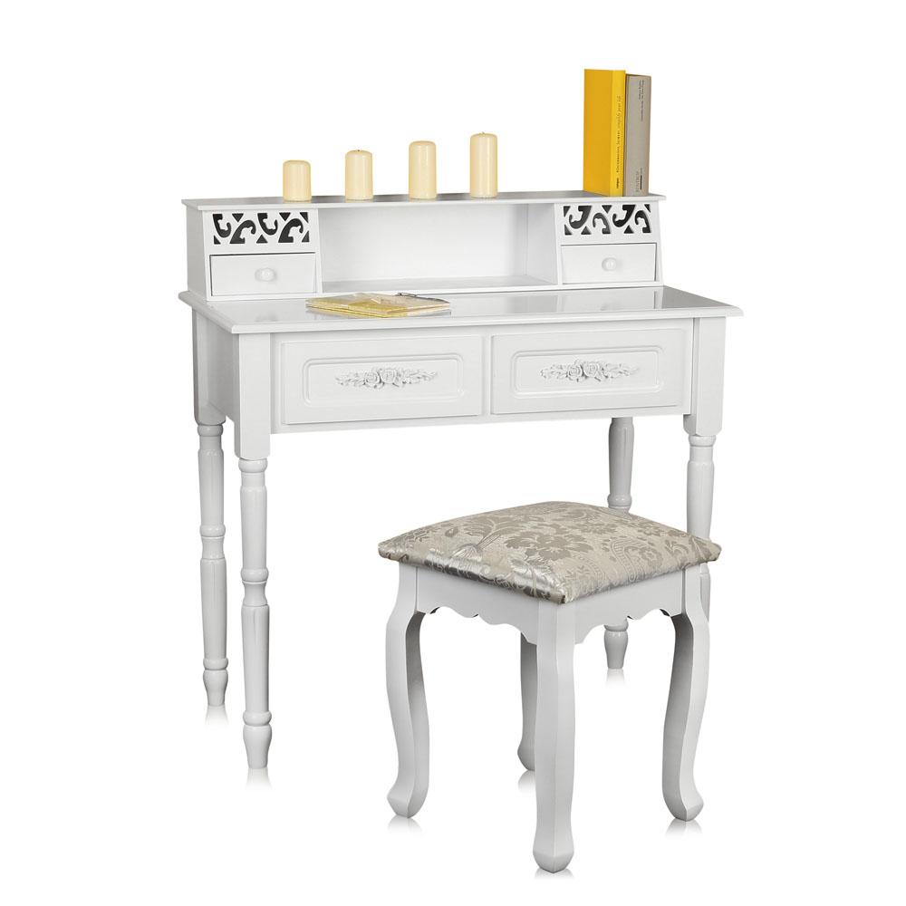 Coiffeuse avec tabouret miroir blanc coiffeuse table de for Coiffeuses avec miroir