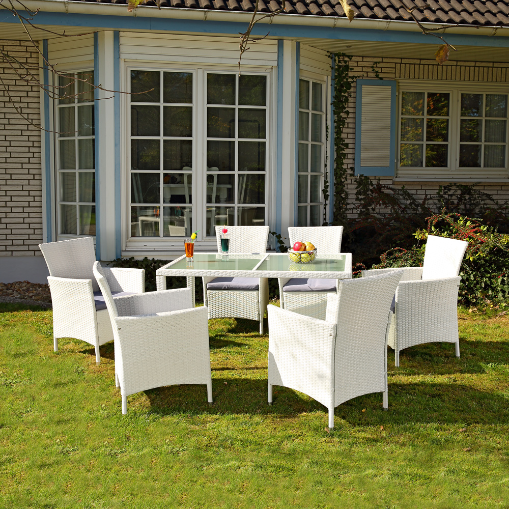 13tlg polyrattan gartengarnitur wei gartenm bel gartenset sitzgruppe schwarz eur 365 80. Black Bedroom Furniture Sets. Home Design Ideas