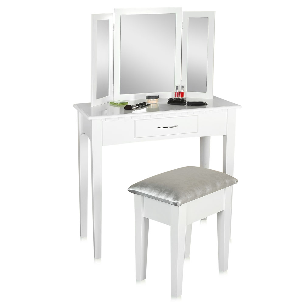 coiffeuse avec tabouret miroir blanc coiffeuse table de coiffure table de cosm tiques ebay. Black Bedroom Furniture Sets. Home Design Ideas