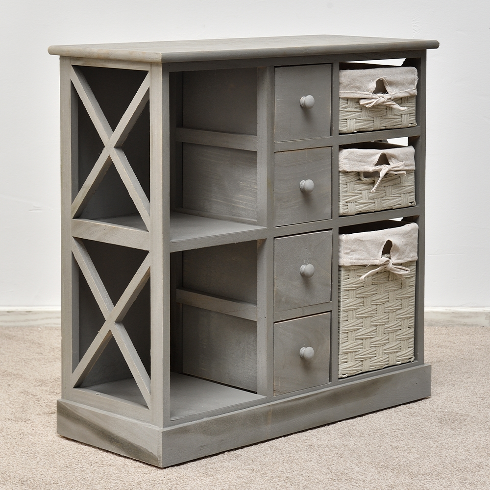 kommode schrank regal shabby chic grau mit 3 k rben regalf cher holz sideboard. Black Bedroom Furniture Sets. Home Design Ideas