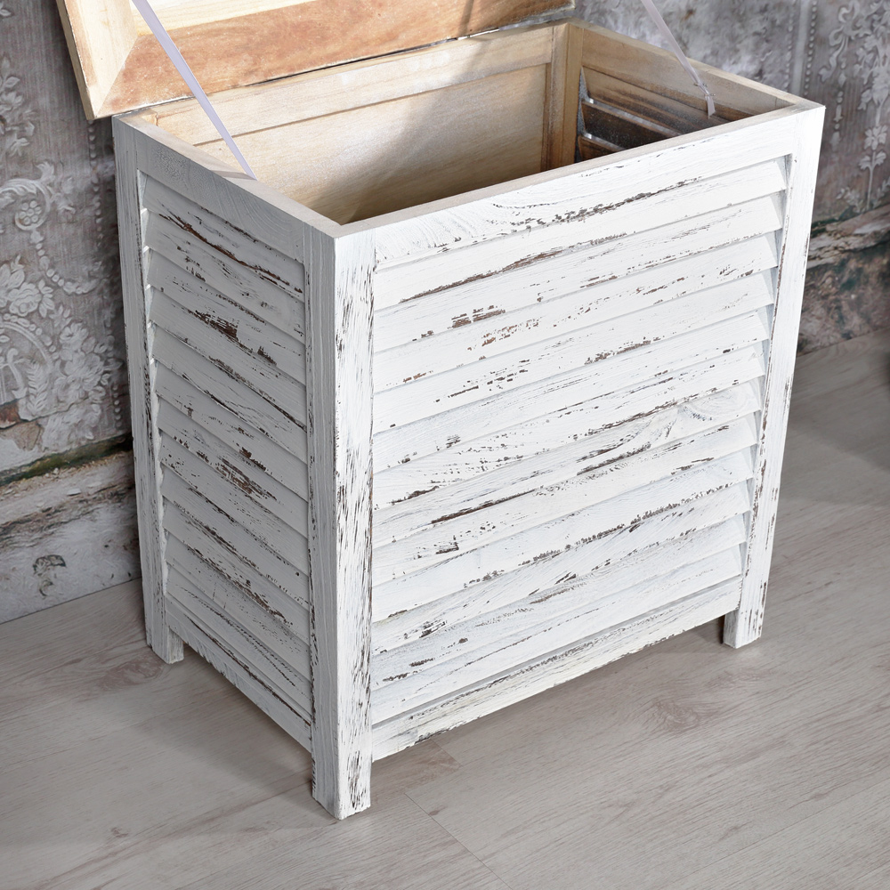 truhe w schetruhe aufbewahrungstruhe shabby stil wei holzkiste lamellen holzbox ebay. Black Bedroom Furniture Sets. Home Design Ideas