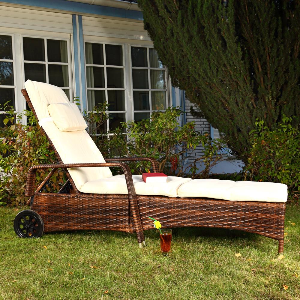 gartenliege rattan lounge verstellbar sonnenliege terrassen liege rattanm bel ebay. Black Bedroom Furniture Sets. Home Design Ideas