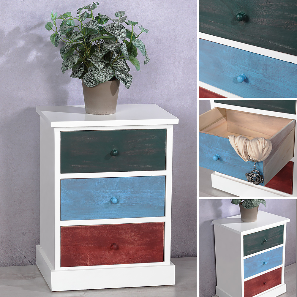highboard im patchwork stil kommode hochschrank schrank nachtkonsole regal bunt ebay. Black Bedroom Furniture Sets. Home Design Ideas