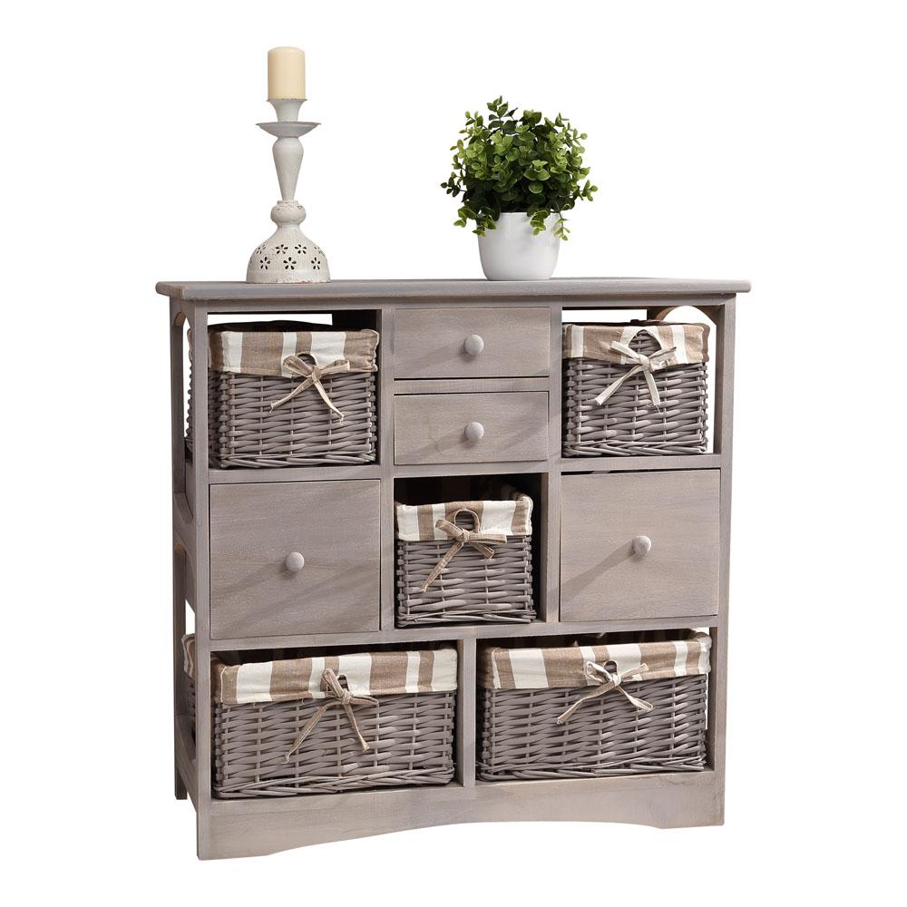 landhaus kommode mit 5 k rben 4 schubladen shabby grau schrank anrichte regal. Black Bedroom Furniture Sets. Home Design Ideas