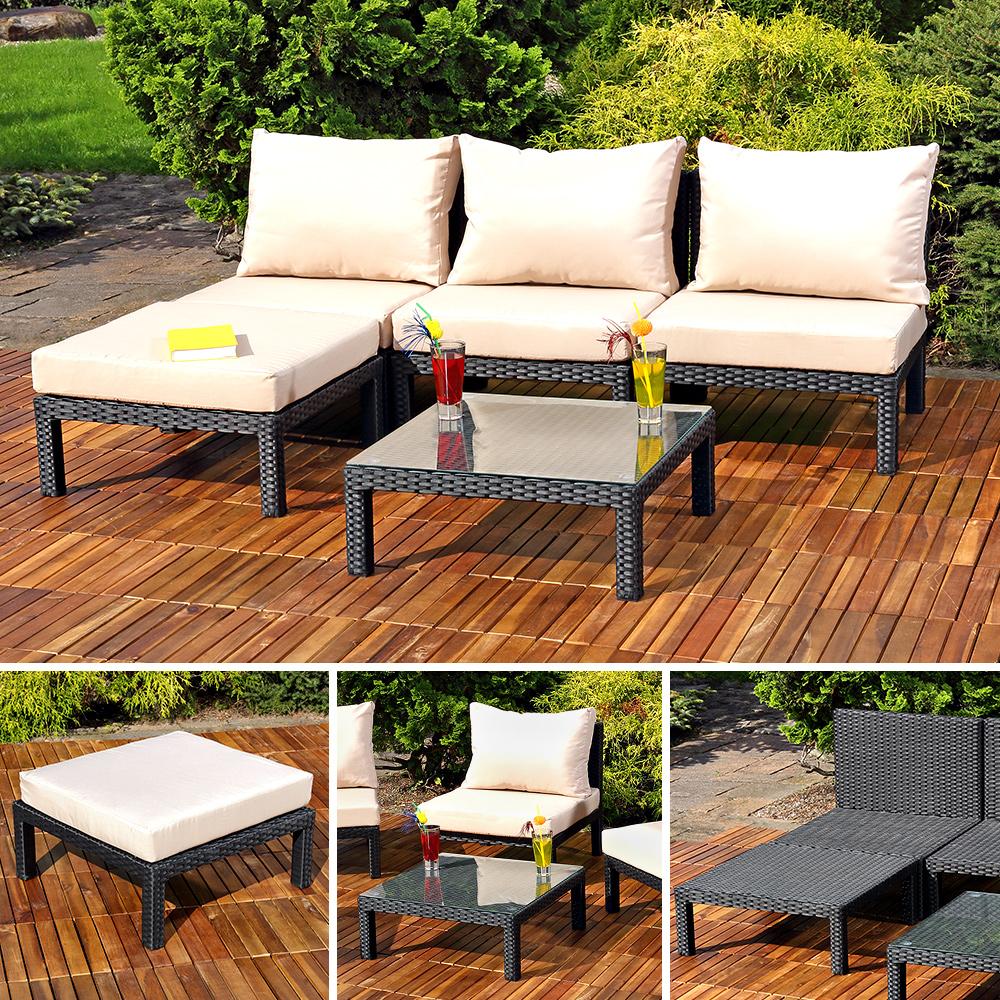 Gartengarnitur inkl Tisch und Auflagen in Schwarz Lounge Gartenmöbel