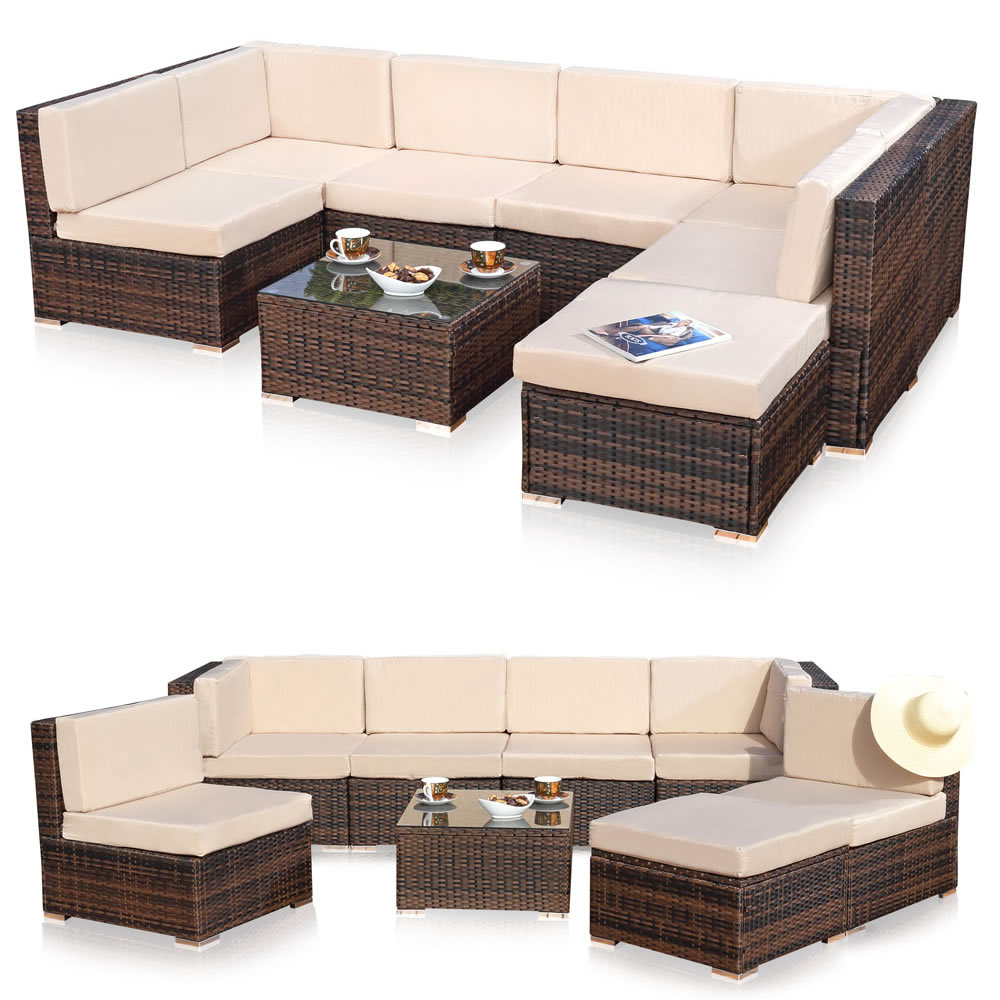 polyrattan sitzm bel schwarz sitzgruppe sofa lounge gartenset rattanm bel m bel ebay. Black Bedroom Furniture Sets. Home Design Ideas