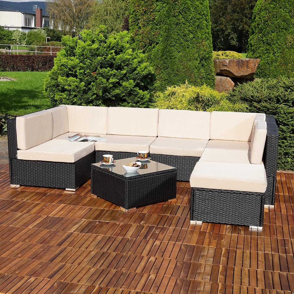 poly rattan sitzgruppe set inkl tisch und auflagen garten sonnenliege schwarz eur 529 24. Black Bedroom Furniture Sets. Home Design Ideas