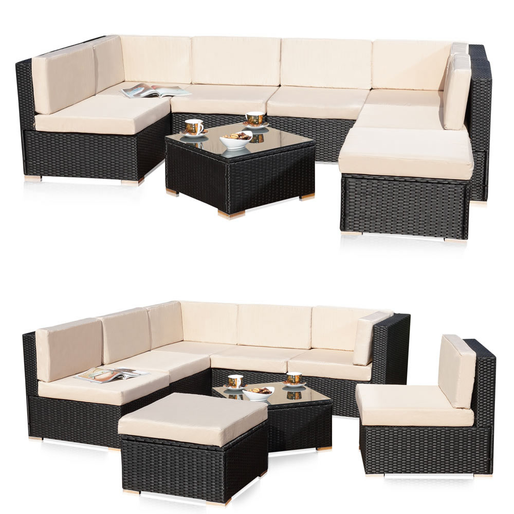 polyrattan sitzm bel schwarz sitzgruppe sofa lounge. Black Bedroom Furniture Sets. Home Design Ideas