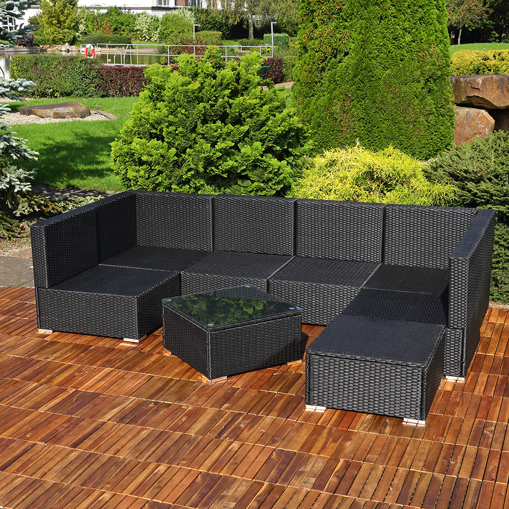 poly rattan sitzgruppe set inkl tisch und auflagen garten. Black Bedroom Furniture Sets. Home Design Ideas