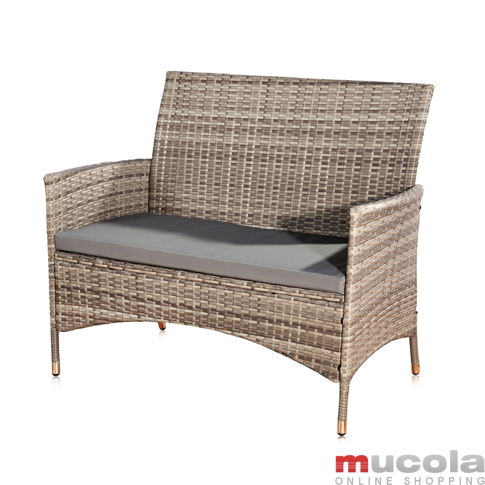 rattan lounge grau relaxsessel sitzgruppe lounge sofa liege gartenm bel sessel ebay. Black Bedroom Furniture Sets. Home Design Ideas