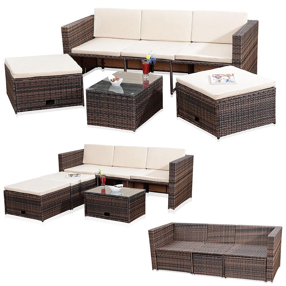 Polyrattan-Sitzmoebel-Schwarz-Sitzgruppe-Sofa-Lounge-Gartenset-Rattanmoebel-Moebel