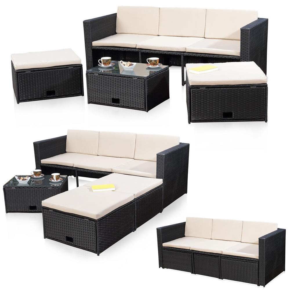 polyrattan sitzm bel schwarz sitzgruppe sofa lounge gartenset rattanm bel m bel. Black Bedroom Furniture Sets. Home Design Ideas