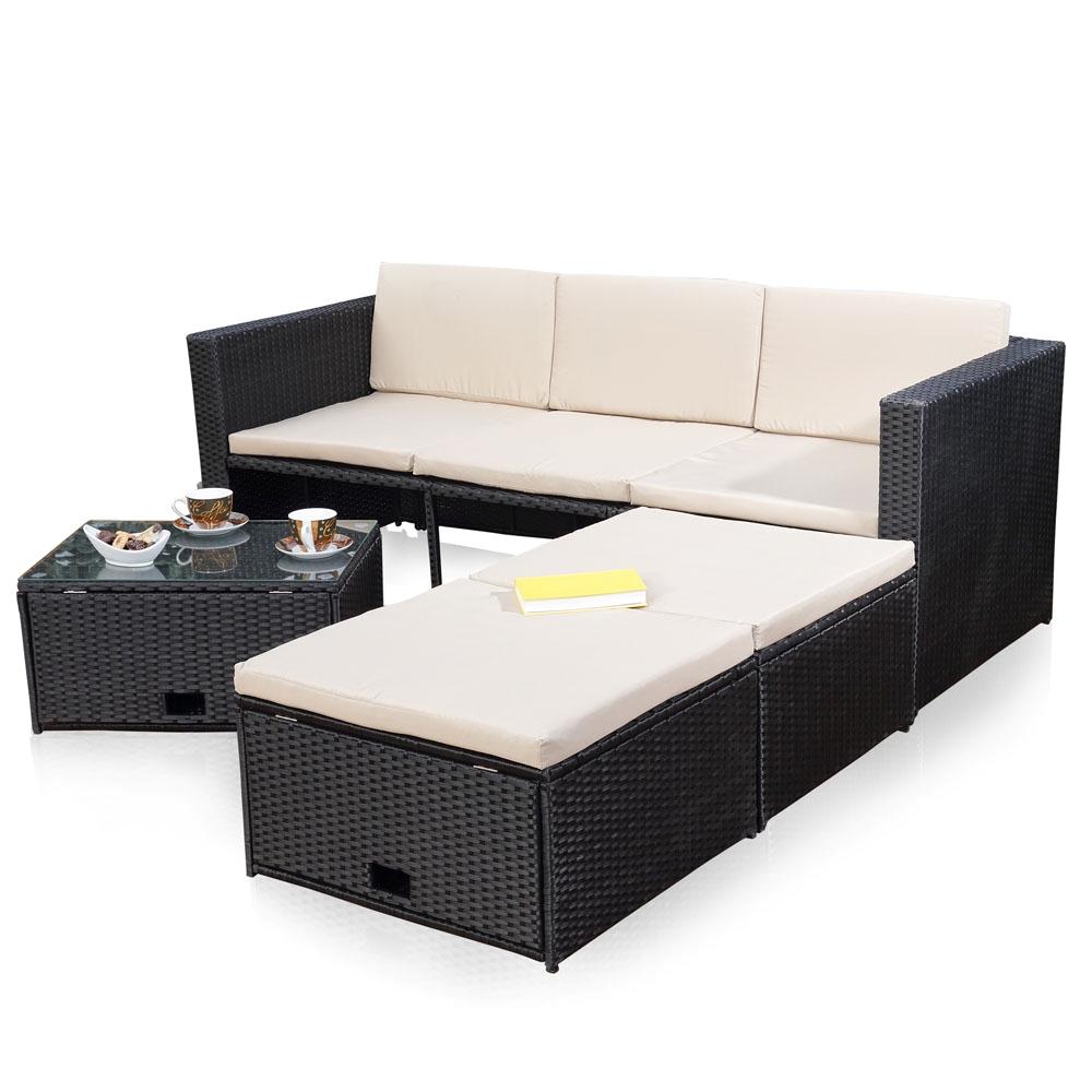 polyrattan sitzm bel schwarz sitzgruppe sofa lounge gartenset rattanm bel m bel ebay. Black Bedroom Furniture Sets. Home Design Ideas