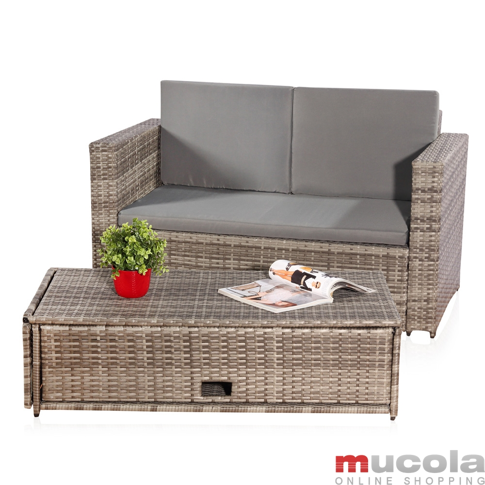 rattan lounge grau. Black Bedroom Furniture Sets. Home Design Ideas