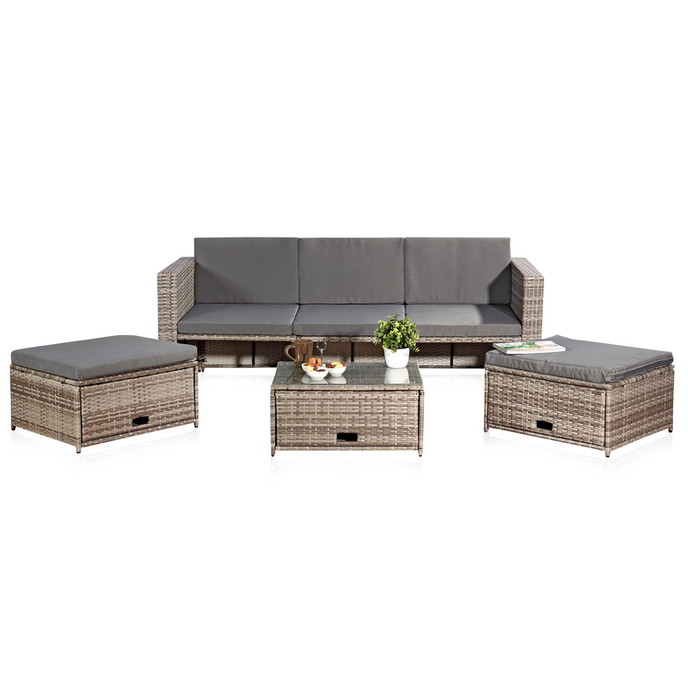 rattanlounge grau relaxsessel sitzgruppe lounge sofa liege gartenm bel sessel ebay. Black Bedroom Furniture Sets. Home Design Ideas