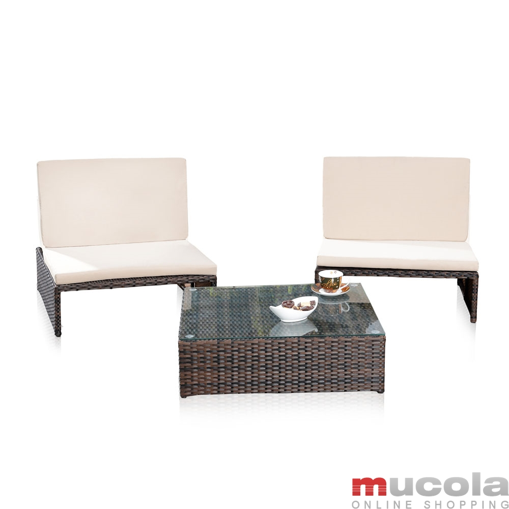 Details zu Rattan Lounge Grau Relaxsessel Sitzgruppe Lounge Sofa Liege