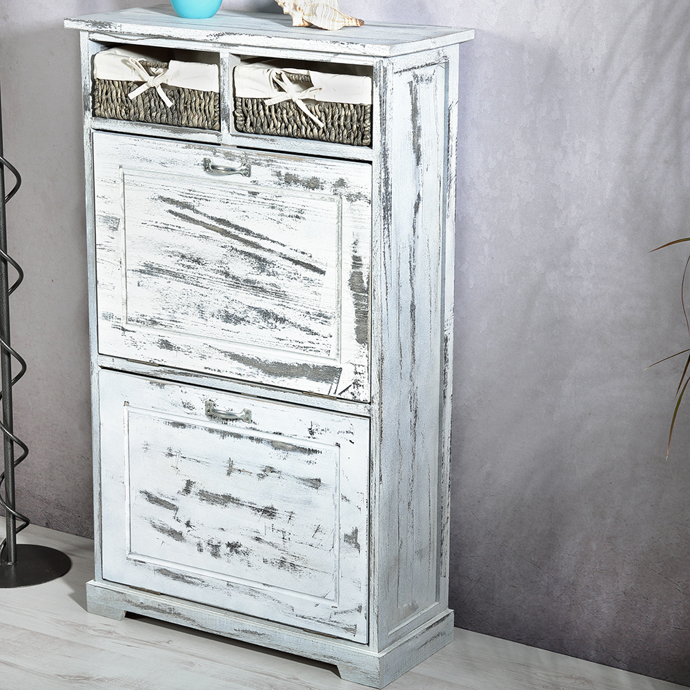 schuhkommode schuhschrank 2 k rbe dielen flur schrank vintage shabby chic ebay. Black Bedroom Furniture Sets. Home Design Ideas