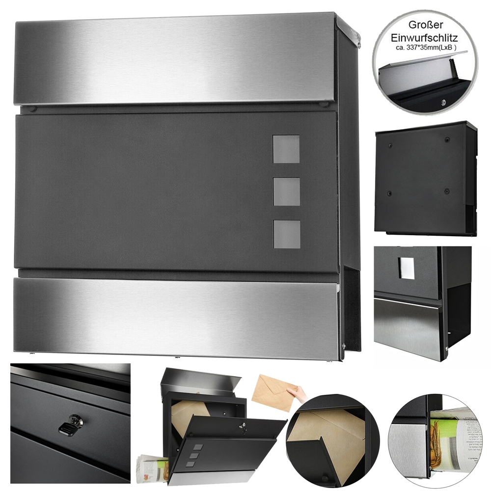 briefkasten mit zeitungsrolle letterbox postkasten wandmontage wandbriefkasten ebay. Black Bedroom Furniture Sets. Home Design Ideas