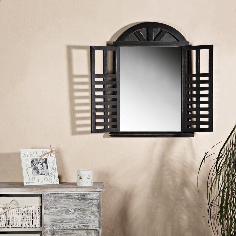 62x42cm wandspiegel fensterladen ablage runder bogen shabby schwarz holz spiege ebay. Black Bedroom Furniture Sets. Home Design Ideas
