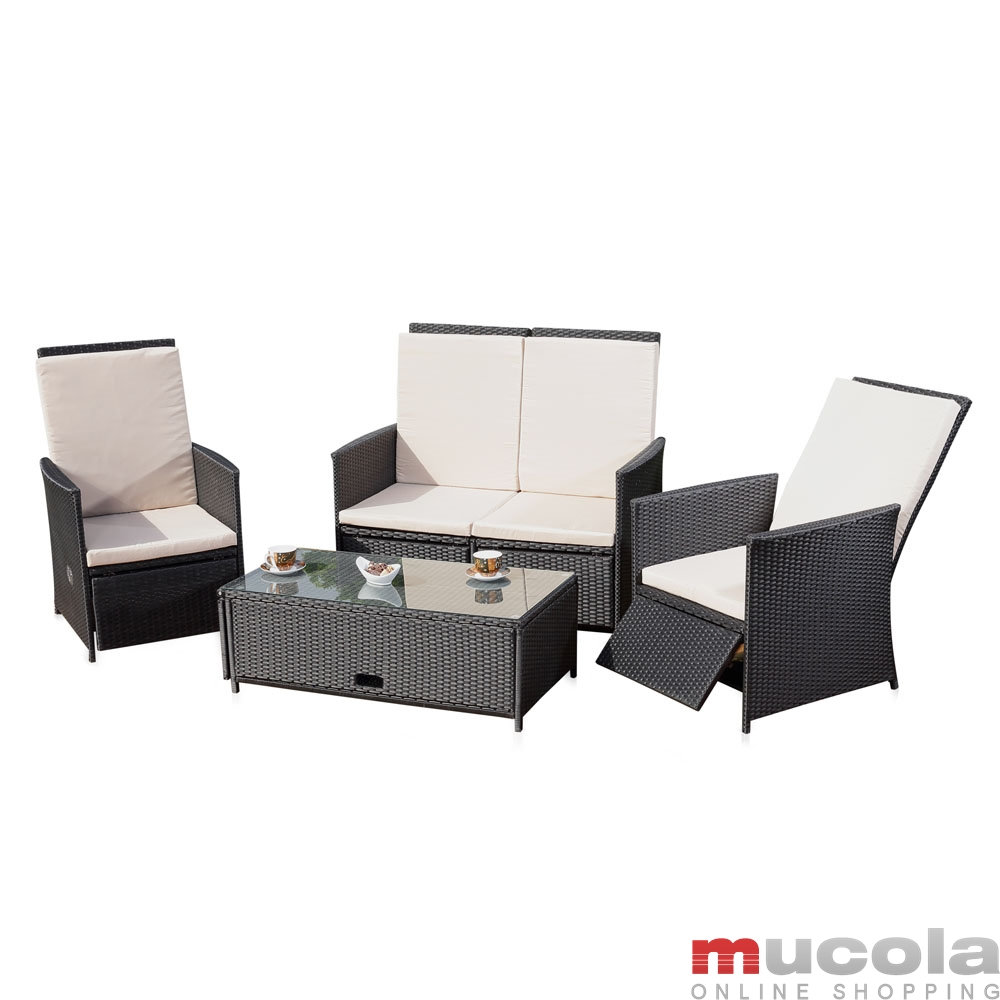 polyrattan lounge sitzgarnitur sitzgruppe gartenm bel gartenlounge gartenset ebay. Black Bedroom Furniture Sets. Home Design Ideas
