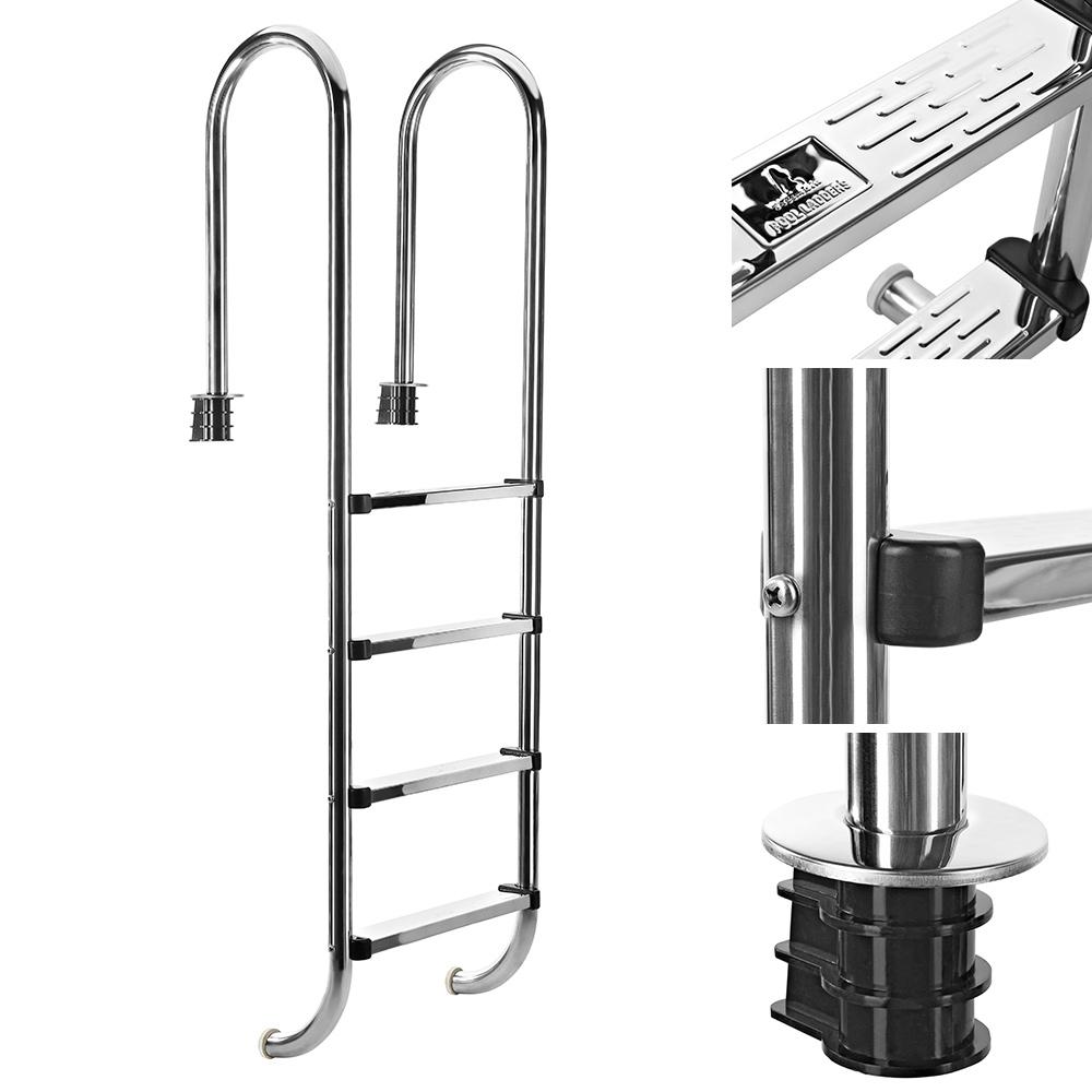 edelstahl poolleiter 3 4 stufen schwimmbad leiter einbauleiter hochbeckenleiter ebay. Black Bedroom Furniture Sets. Home Design Ideas
