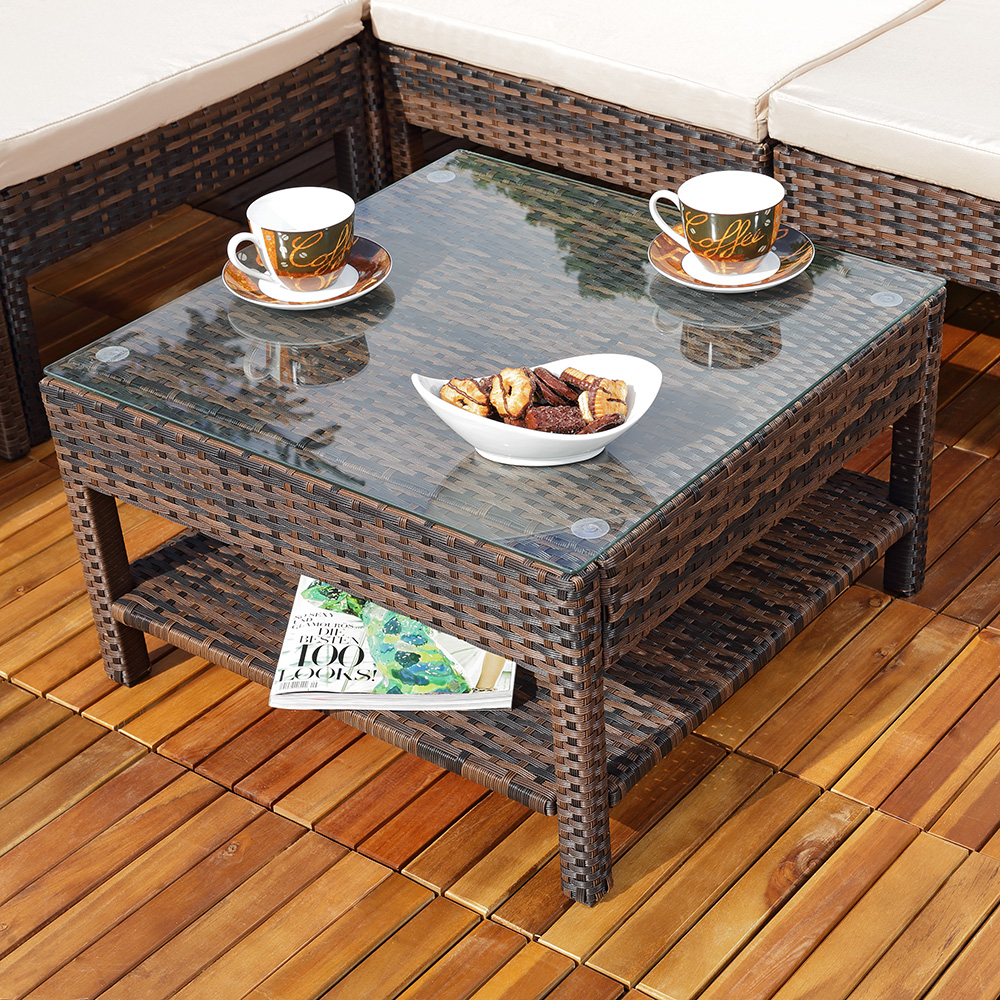 ecksofa mit tisch und auflagen garten lounge poly rattan. Black Bedroom Furniture Sets. Home Design Ideas