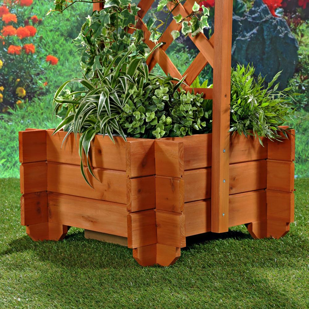 Pergola Rosenbogen Rankhilfe Holz Torbogen ~   + Pflanzkübel Pergola Spalier Blumenkübel Rankhilfe Torbogen Holz