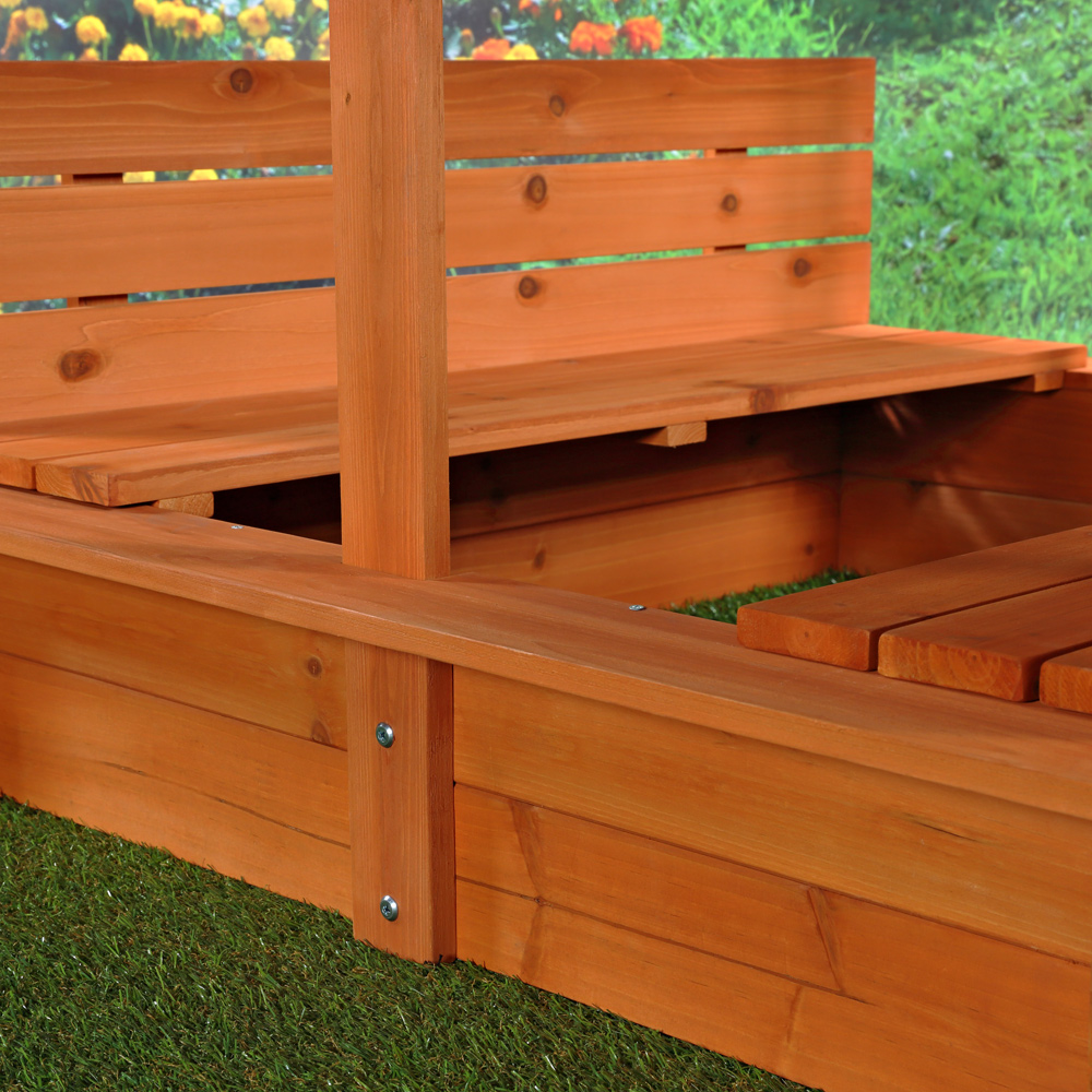 sandkasten sandbox sandkiste mit dach deckel und 2. Black Bedroom Furniture Sets. Home Design Ideas
